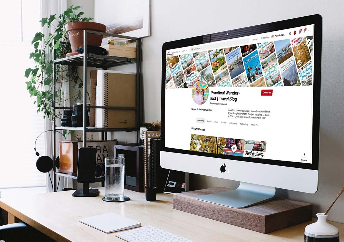 Computer screen showing a Pinterest account.