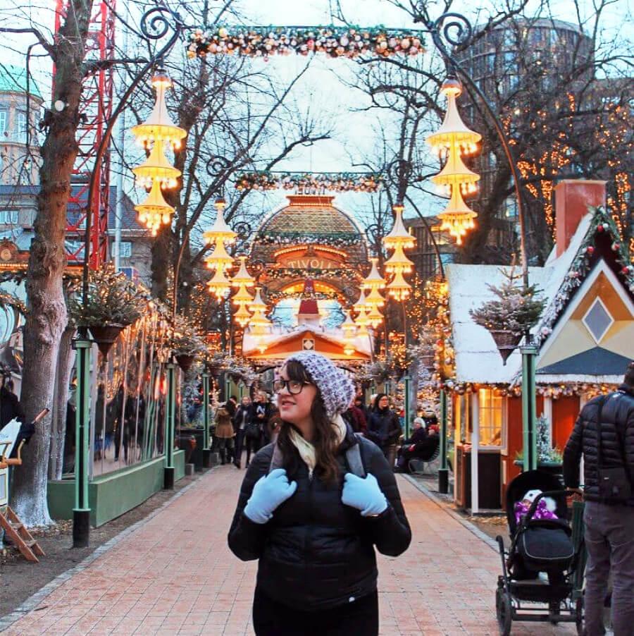 Admiring the Christmas cheer at magical Tivoli Gardens in Copenagen, Denmark
