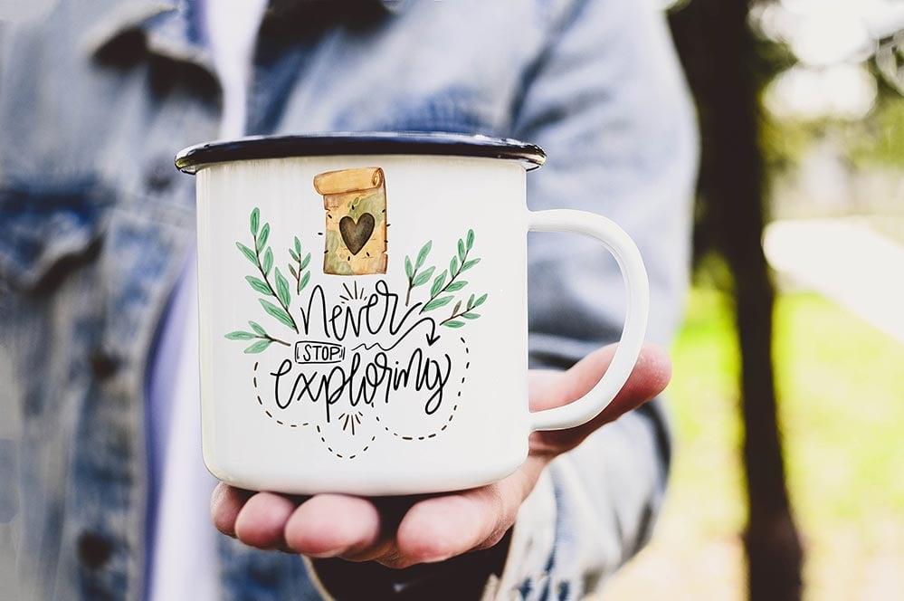 Never Stop Exploring coffee mug
