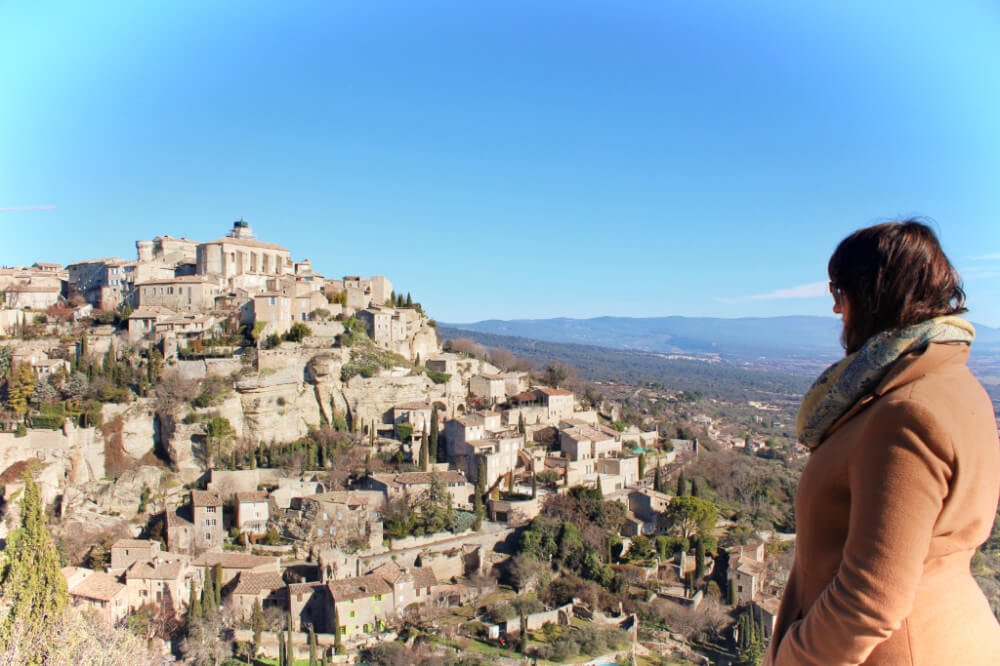 Just casually gazing out over an ancient medieval hillside town in the French countryside on our France road trip.