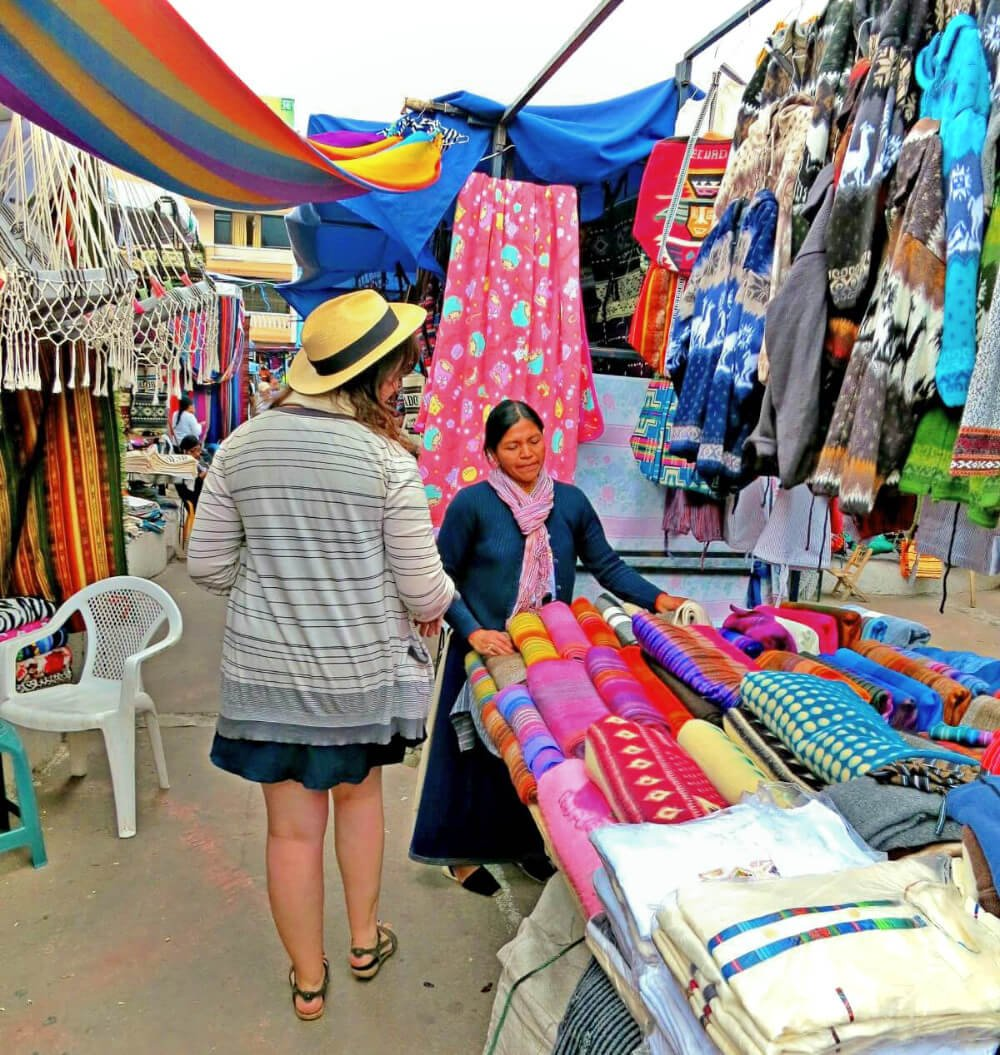 Shopping at Otavalo Market just outside of Quito, Ecuador.