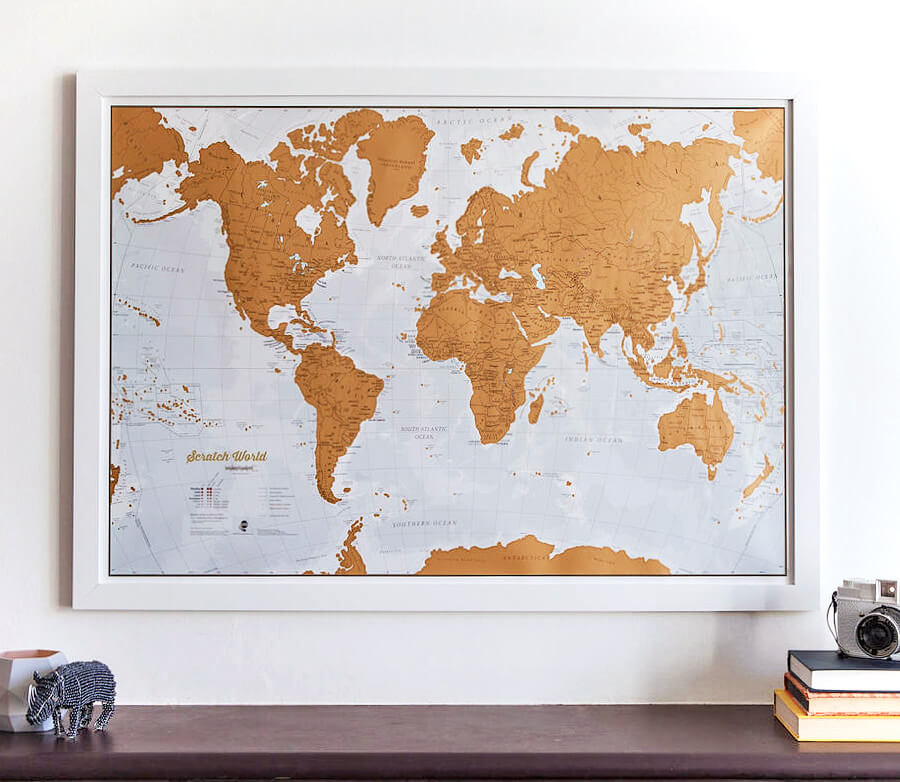 Scratch-off gold foil map from Maps International! This is the perfect gift for a travel lover. But it's almost too pretty to scratch off! Photo used with permission.