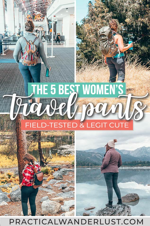 Shopping for women's travel pants as a curvy gal is SO frustrating. But I've found 5 pairs of travel pants that are functional, cute, have pockets, AND fit! Travel jeans, hiking pants, winter pants, travel leggings, and even the BEST pants to wear on a long flight.