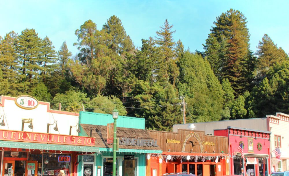 Colorful downtown Guerneville in northern California