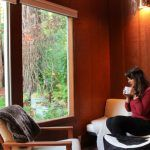 Sipping coffee in a cabin in the redwoods in Guerneville, California.