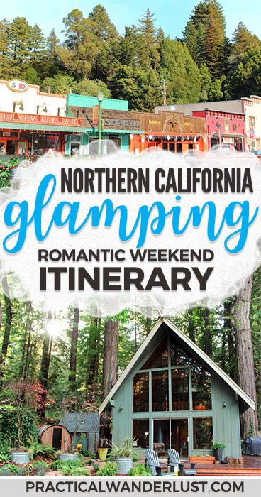 A romantic weekend itinerary for a glamping trip in Guerneville, Northern California. Wine tasting, redwoods, road trippin' down Highway One on the West Coast, and more! Sonoma County | Russian River | Guerneville | Northern California weekend getaway | Northern California travel | Wine country road trip | Weekend trips near San Francisco | San Francisco Bay Area travel | Glamping in California #redwoods #USAtravel #California
