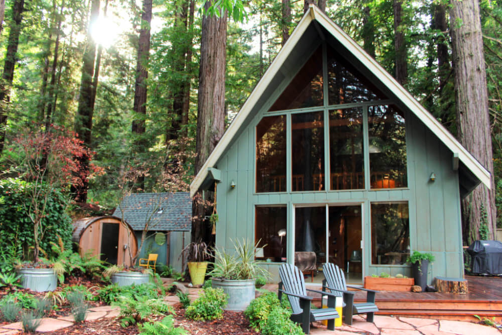 Cabin in the redwoods in Guerneville, California, perfect for a romantic glamping getaway.