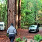 The front yard: redwoods, an airstream, a babbling creek, and the roomy 2018 Mitsubishi Outlander we picked up for the weekend!