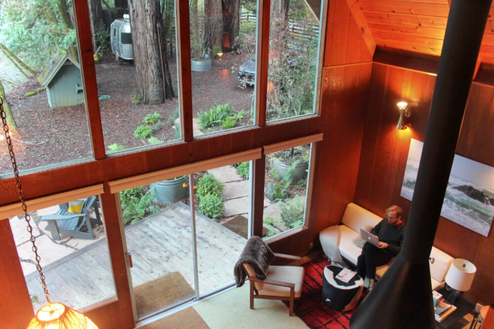 Living room of our Glamping Hub Cabin in Guerneville, Northern California.