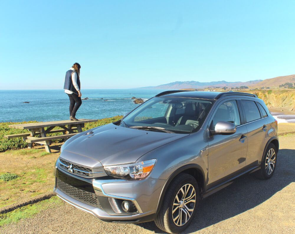 The 2018 Mitsubishi Outlander has a GIANT panoramic roof, which is perfect for super chill California road trippin' vibes and scenic views along Highway One!