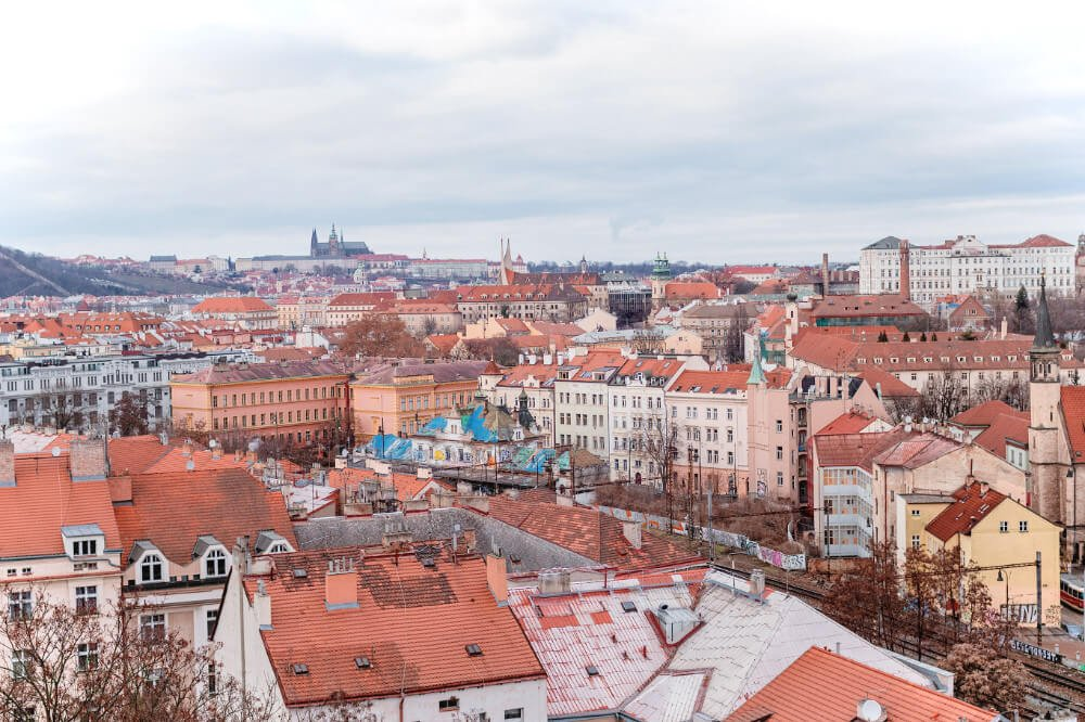 Red rooftops of Prague in December & January.