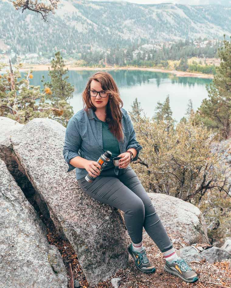 Hiking in June Lake, California in the prAna Briann Pant.