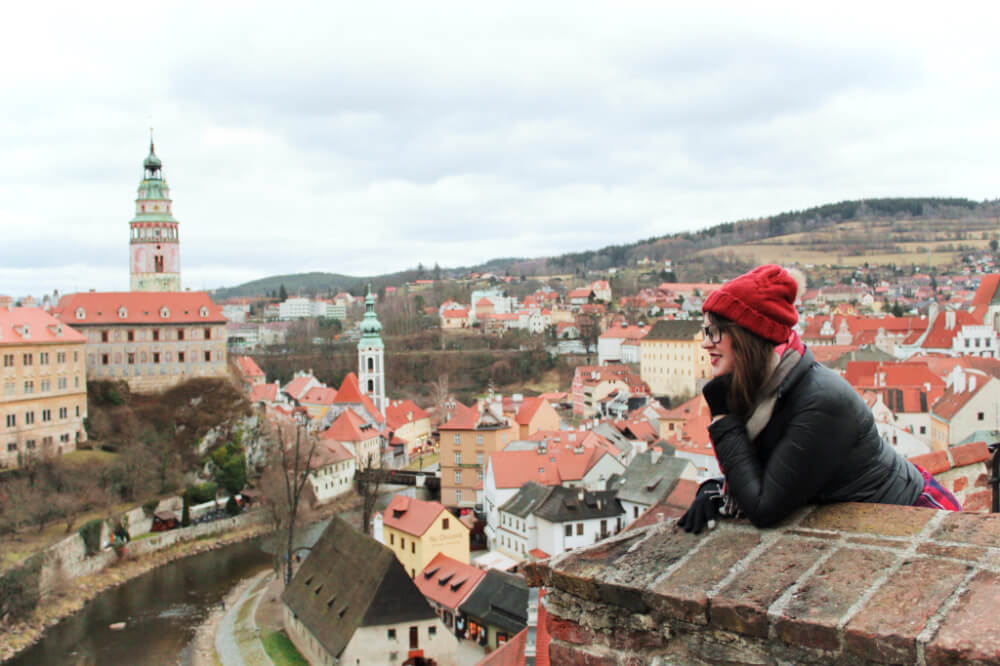 Lia looking out over Cesky Krumlov in the Czech Republic.