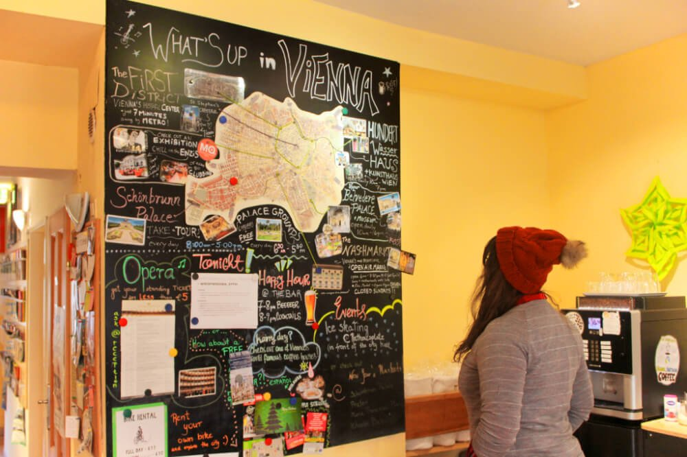 Checking out the epic chalkboard guide to Vienna at Hostel Ruthensteiner, the oldest hostel in Vienna!
