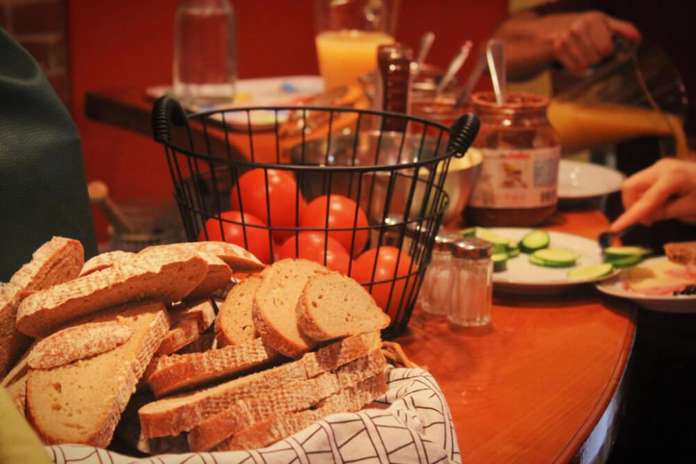 Breakfast at Hostel Ruthensteiner in Vienna