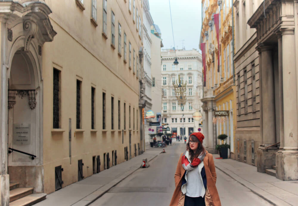 Lia exploring Old Town in Vienna, Austria in the winter