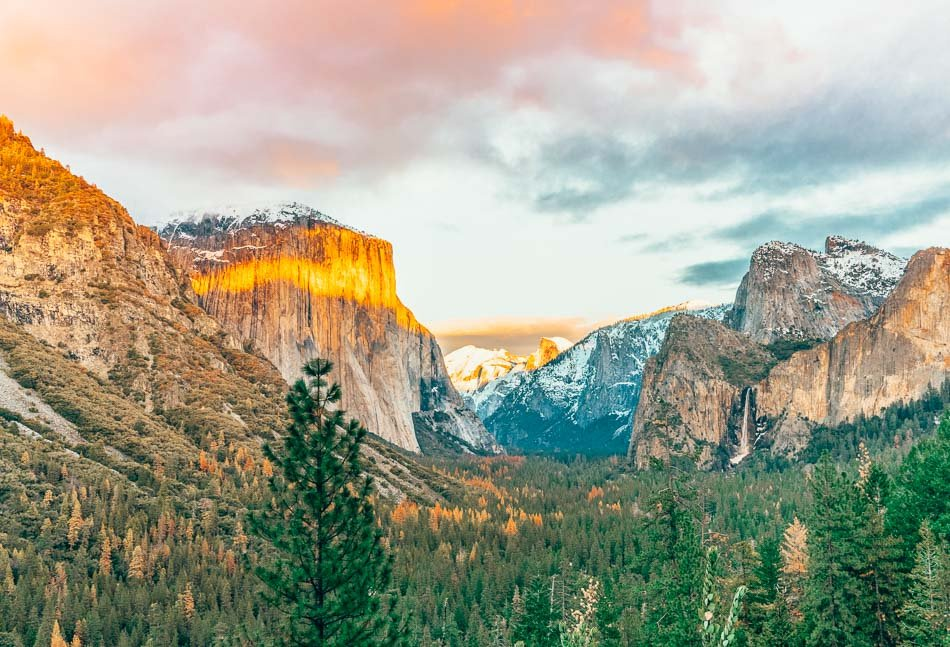 The famous Tunnel View of Yosemite National Park near Wawona Tunnel.