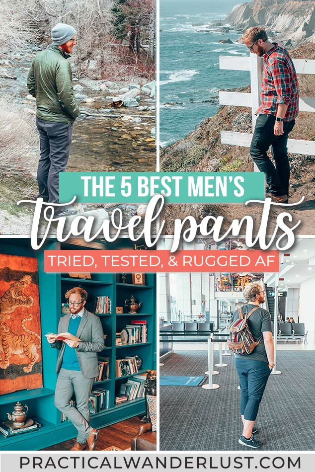 Travel jeans. Hiking pants. Comfortable flying pants. Travel slacks. These are the 5 best travel pants for men - tried and tested! #WhattoPack #TravelTips #TravelPants