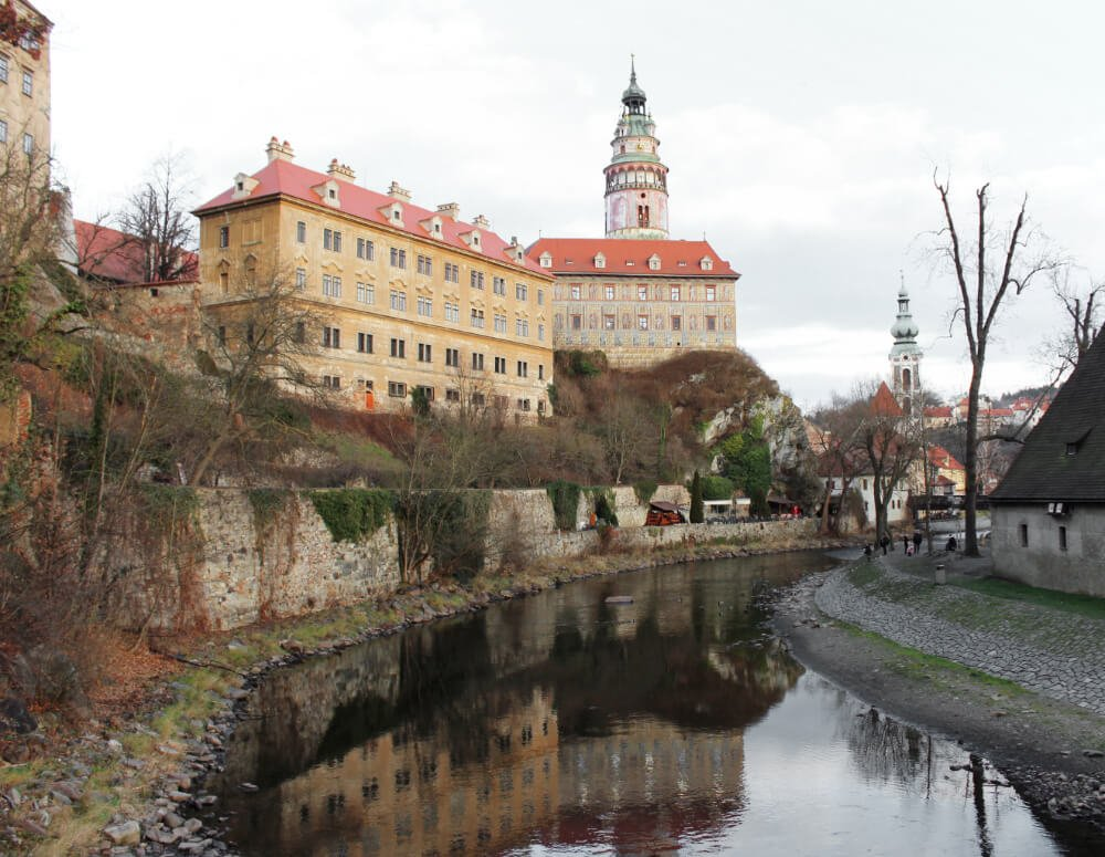 The castle reflected in the river in Cesky Krumlov, a UNESCO world heritage site in the Czech Republic.