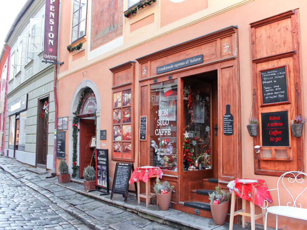 A cute little cafe in Cesky Krumlov, a medeival town a few hours away from Prague in the Czech Republic.
