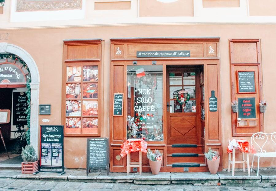 A cute little cafe in Cesky Krumlov, a medeival town a few hours away from Prague in the Czech Republic.