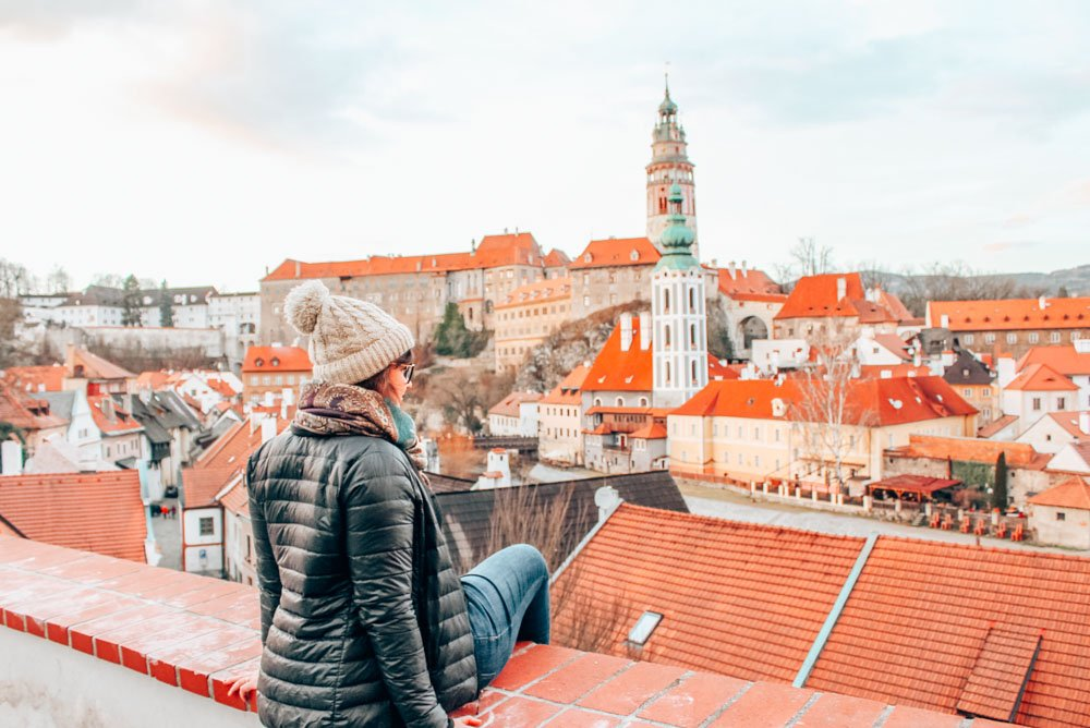 Gazing out over the rooftops in Cesky Krumlov, a medeival town in the Czech Republic. Cesky Krumlov makes an excellent day trip from Prague!