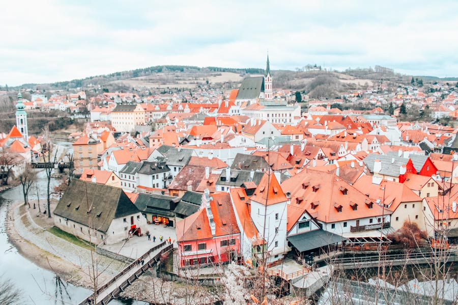 Views of Cesky Krumlov from the castle grounds in the Czech Republic.