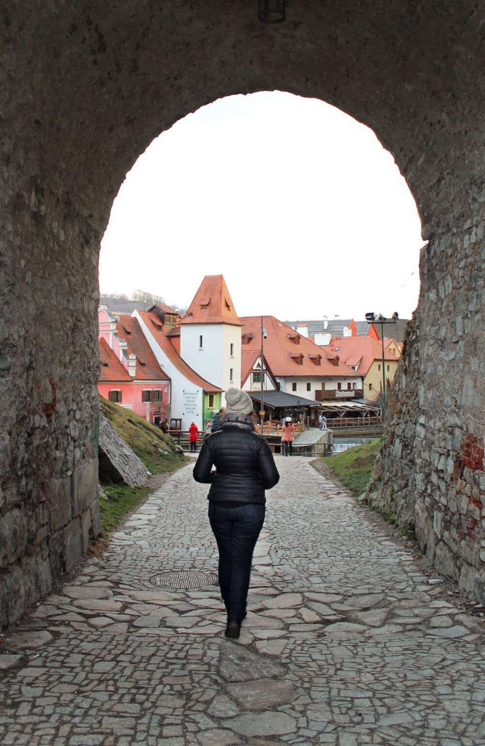 Exploring the castle in Cesky Krumlov, a UNESCO world heritage site in the Czech Republic.