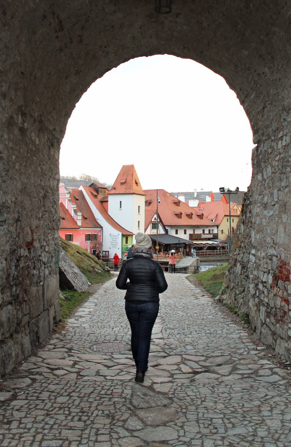 Exploring the castle in Cesky Krumlov, a UNESCO world heritage site in the Czech Republic.