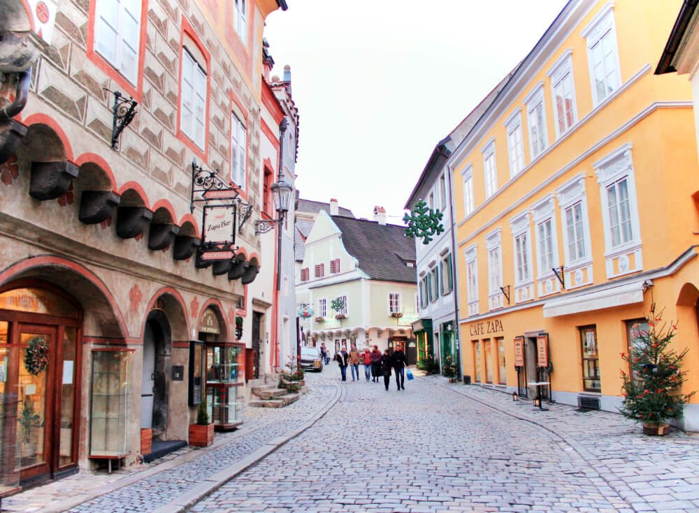 Exploring the Cobblestone Streets of Cesky Krumlov in the Czech Republic, Europe in the winter.