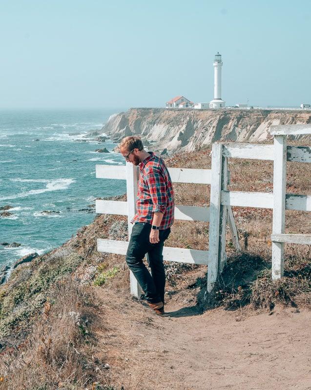Exploring Point Arena Lighthouse in Mendocino, California in my AviatorUSA black jeans.