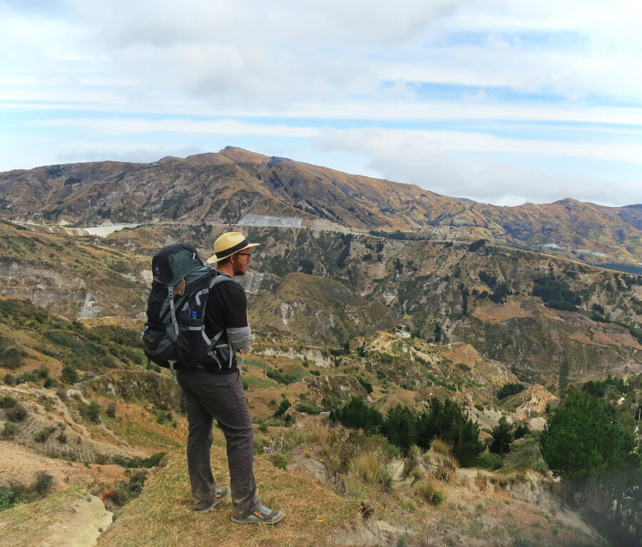 Hiking the Quilotoa Loop in Ecuador in my prAna stretch Zion pants, the best travel pants for men.