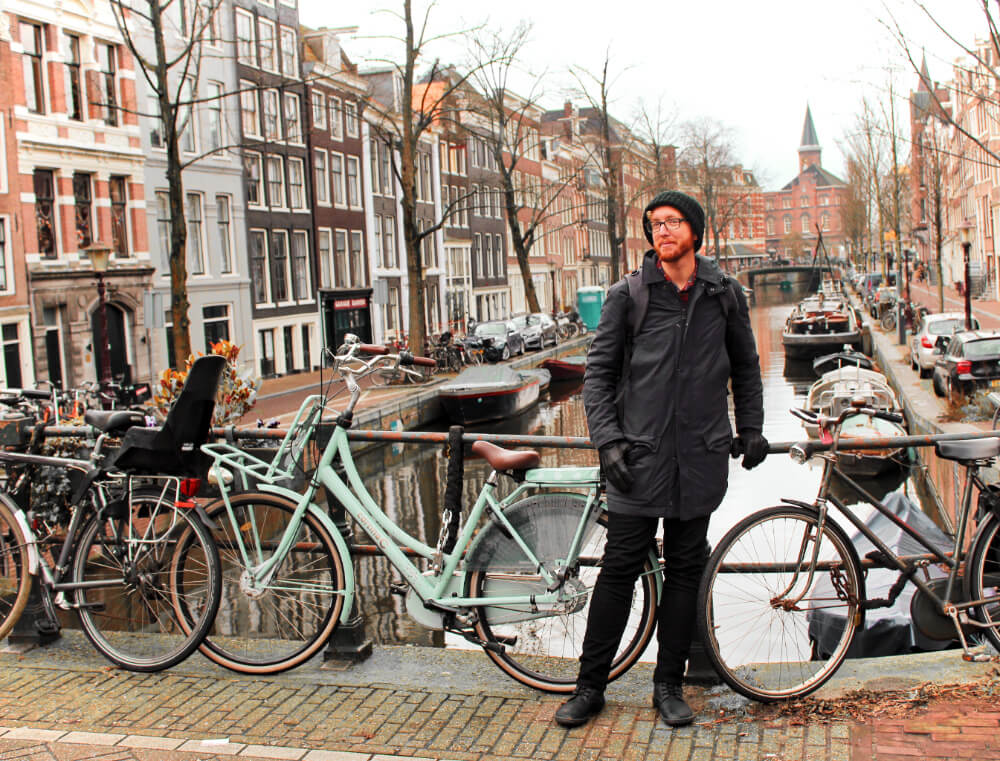 Field testing my travel jeans in Amsterdam, the Netherlands in the dead of winter.