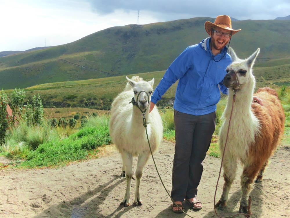 prAna stretch zion pants and llamas in Quito, Ecuador