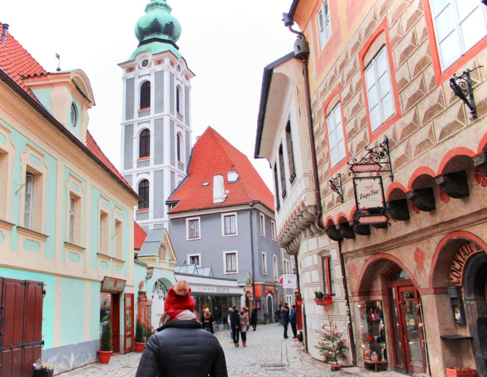 This stunning tower greets you as you enter the Old Town of Cesky Krumlov, and dominates the skyline from everywhere in town.