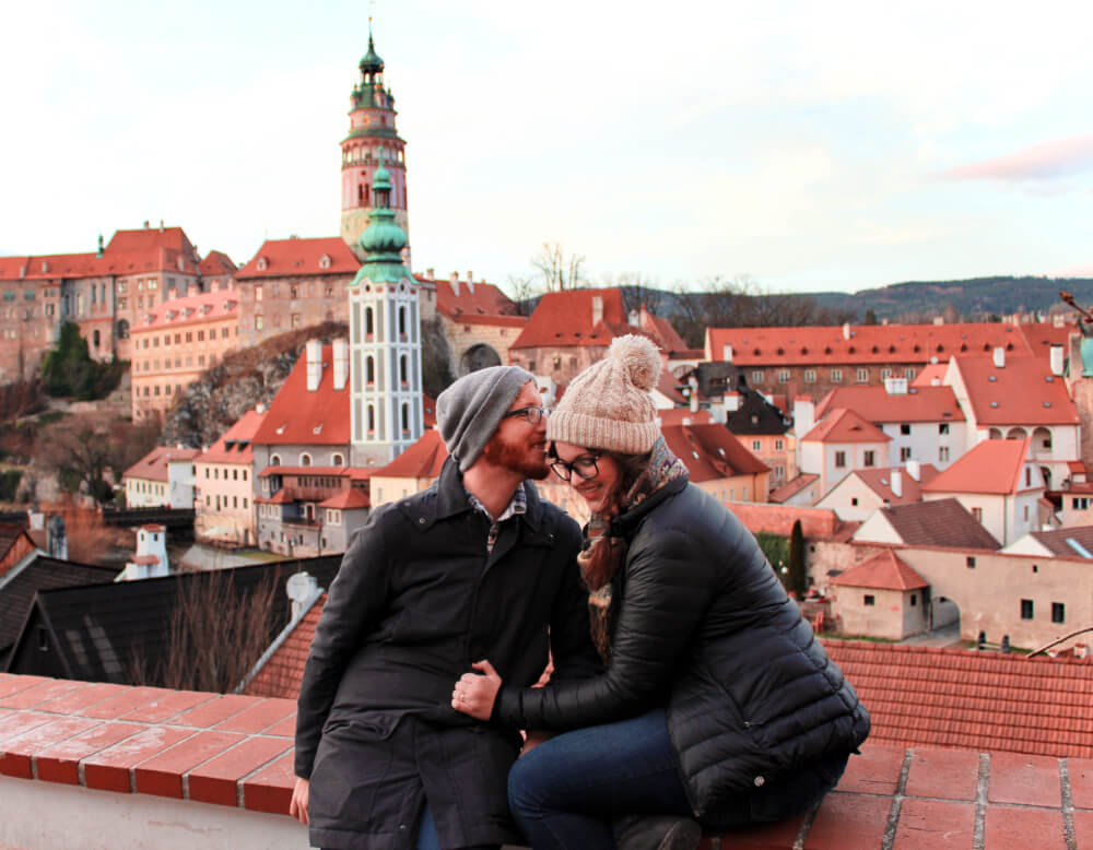 Lia and Jeremy and the rooftops of Cesky Krumlov in the Czech Republic.