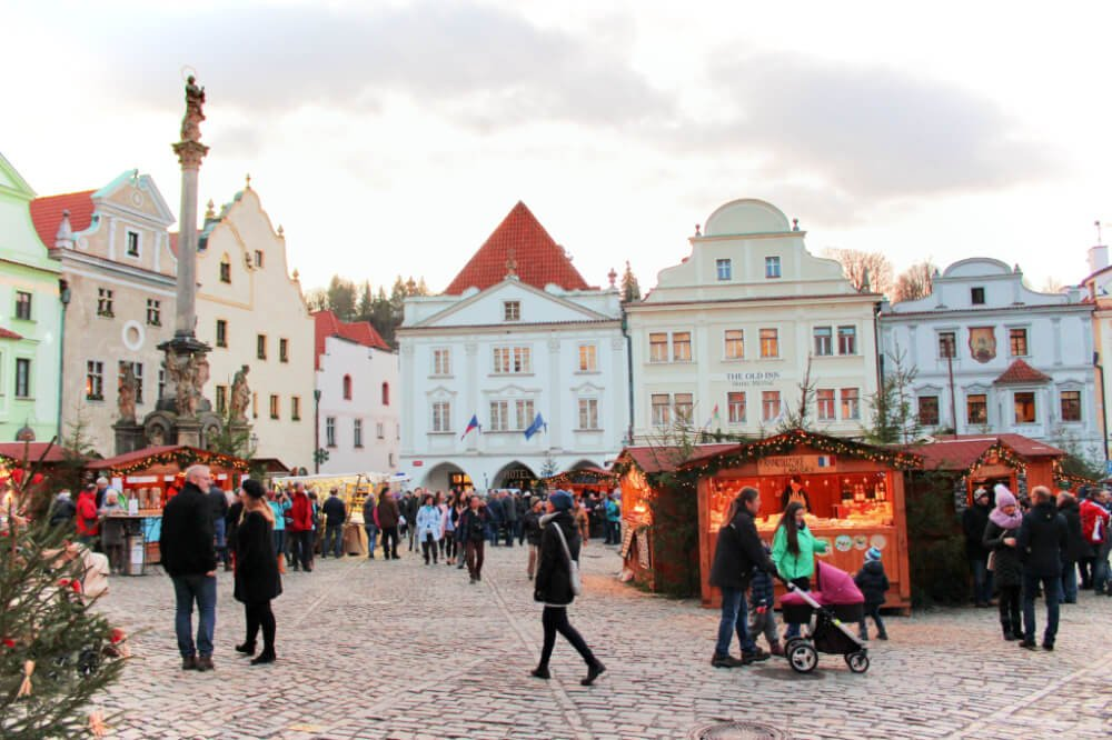 Svornosti Square in the winter in Cesky Krumlov is an excellent place to celebrate New Years Eve & New Years Day! The Christmas Market in Cesky Krumlov stays open into January.