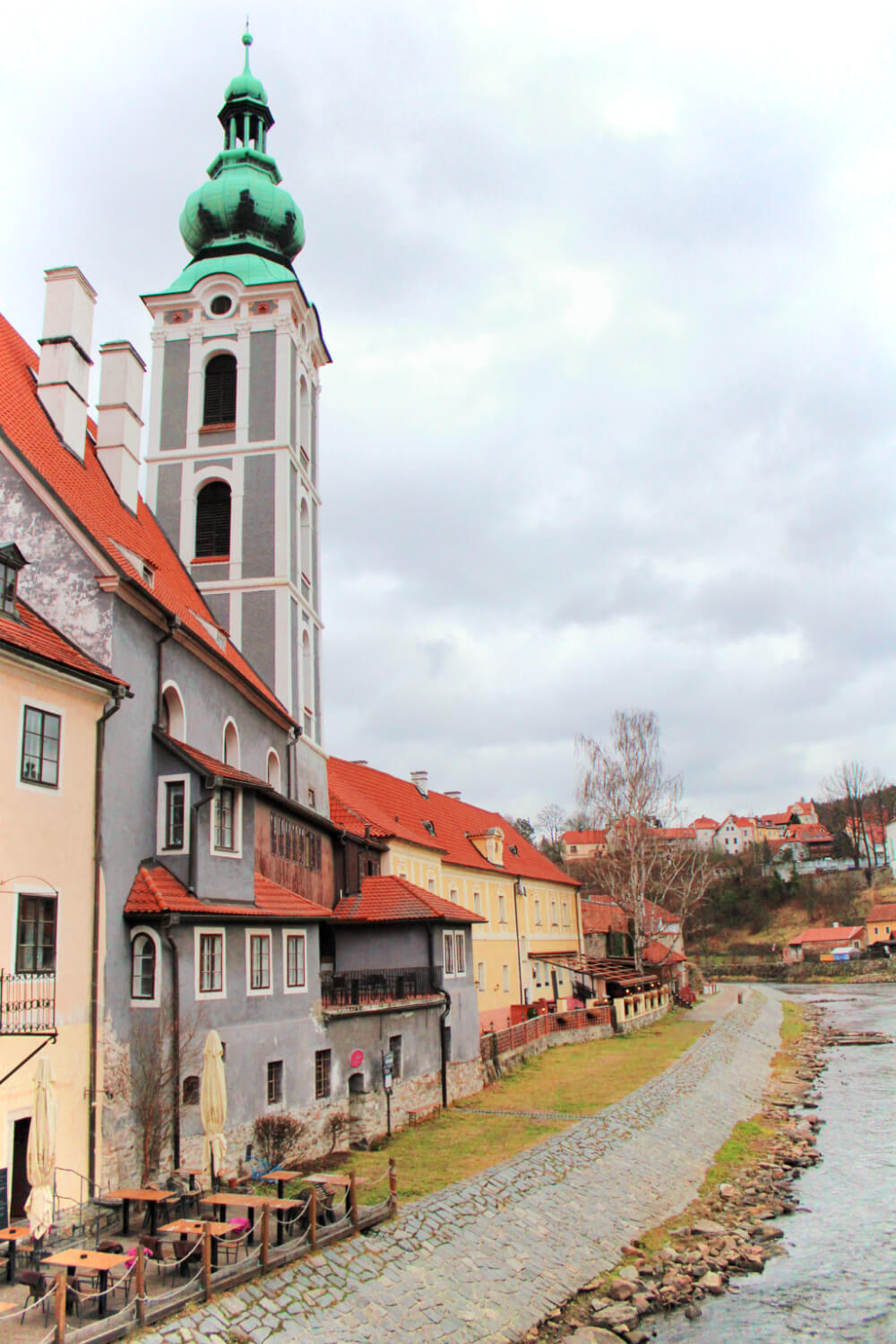The Castle Tower and the river in Cesky Krumlov, Czech Republic.