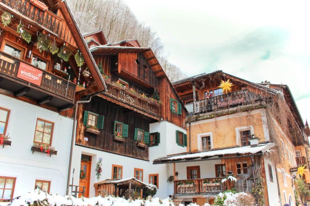 The Bräu-Gasthof in Hallstatt, Austria, in the winter.