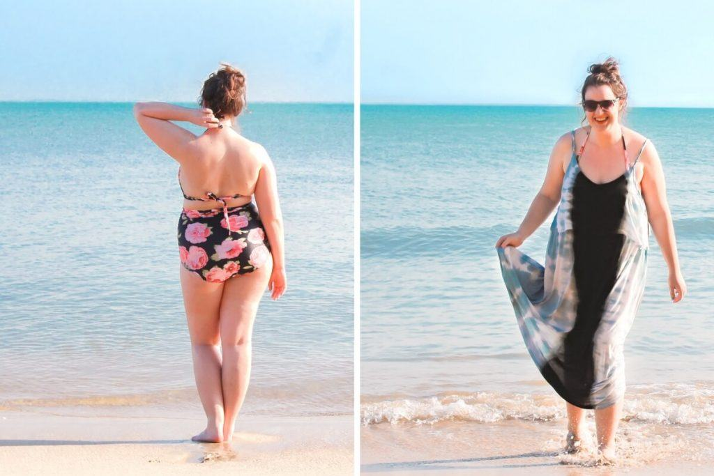 Curvy girl in a bikini and cover-up on the beach.