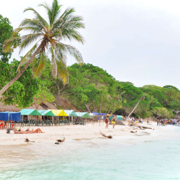Playa Blanca on Isla Baru Cartagena, Colombia. Isla Baru is located less than an hour from Cartagena and home to the best beaches in Cartagena!