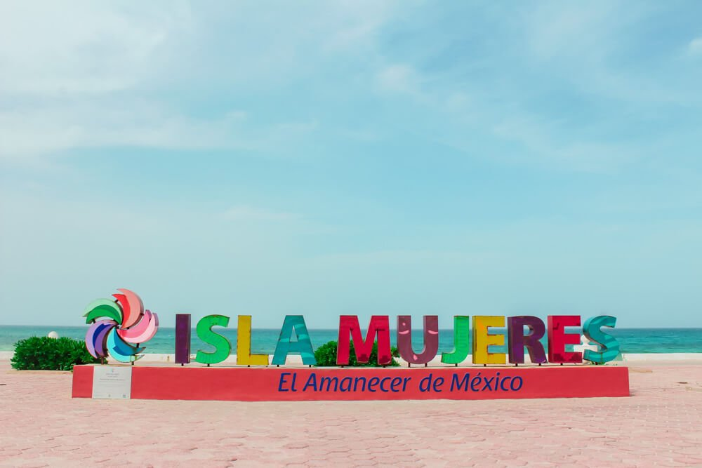 Colorful Isla Mujeres sign in Mexico.