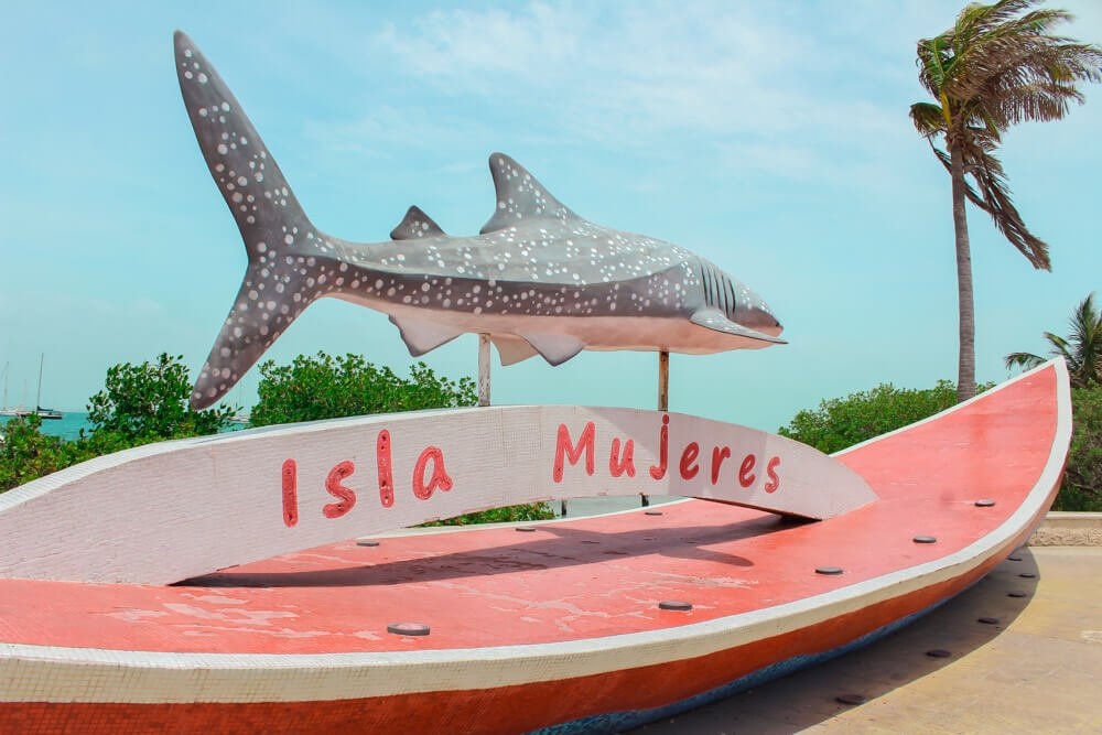 Whale shark sign welcoming visitors to Isla Mujeres, Mexico.
