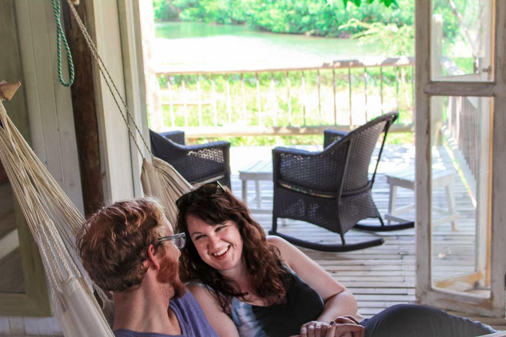 Lia and Jeremy in hammocks sat Playa Manglares Hotel on Isla Baru, Cartagena, Colombia.