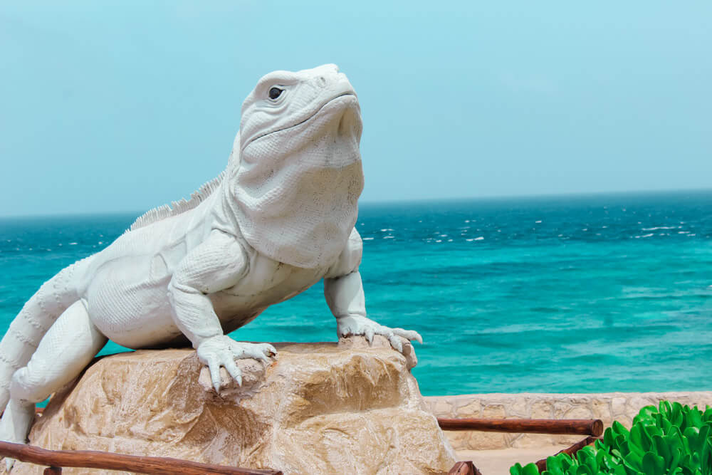 Iguana statue at Punta Sur in Isla Mujeres, Mexico.