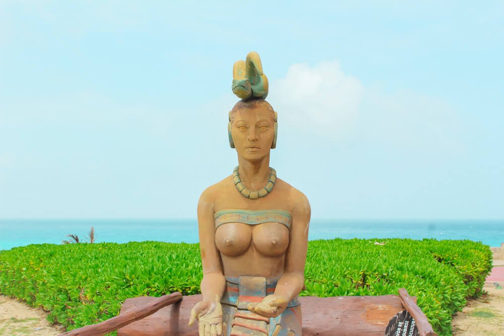 Statue of Ixchel, Mayan goddess of fertility and the moon.