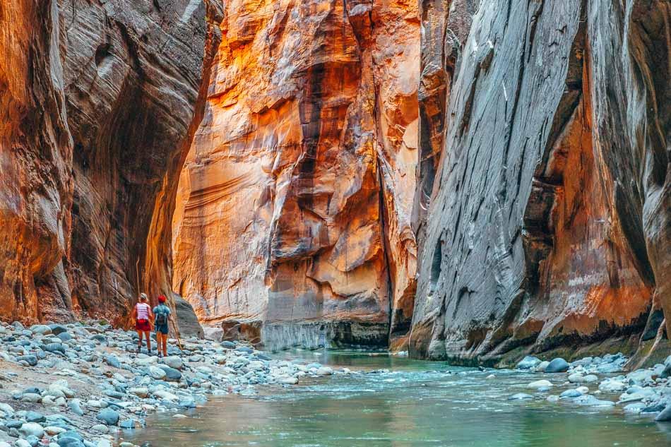 The Virgin River carving its way through The Narrows at Zion National Park, Utah.