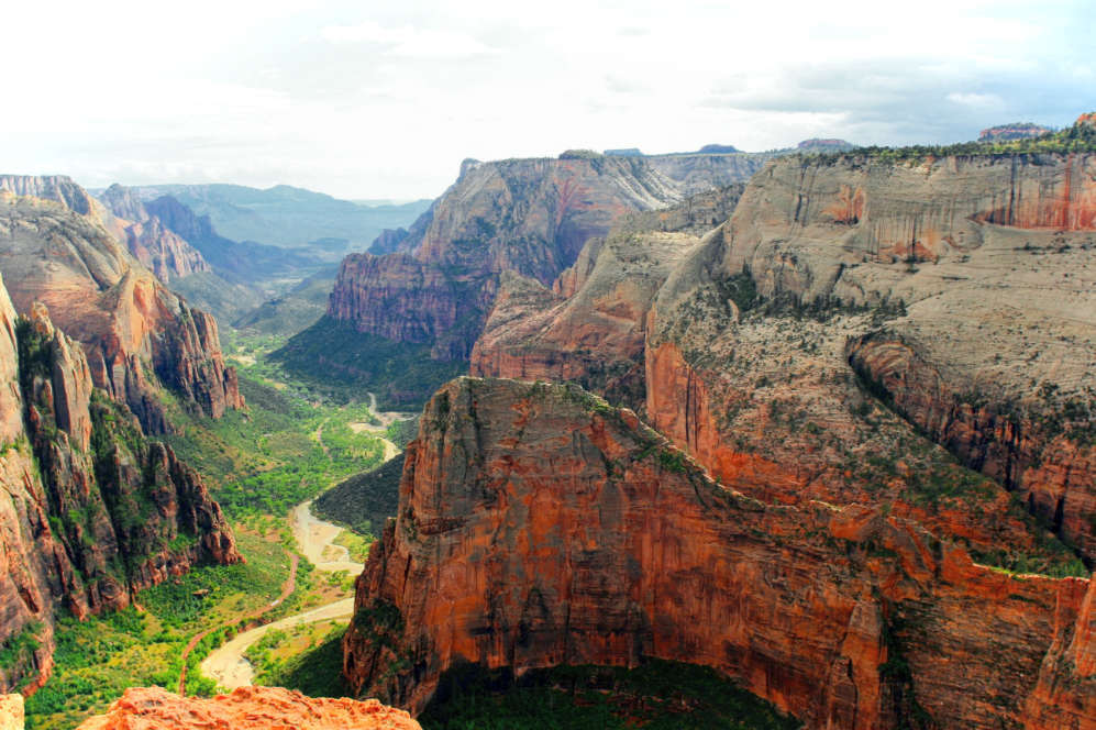 The Virgin River makes its way through the canyon valley in Zion National Park, Utah on the Observation Point day hike.
