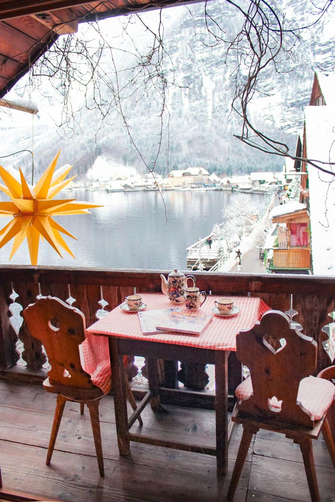 The balcony of our room at the Brau Gasthof in Hallstatt Austria, which looked out over the lake and the village below.