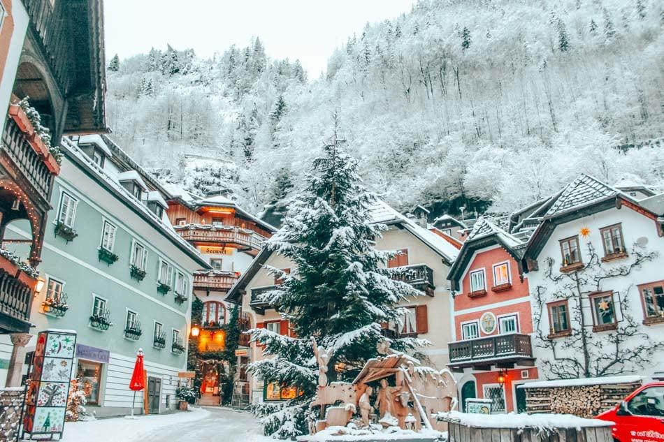 The Marketplatz in Hallstatt, Austria first thing in the morning, under a dusting of fresh snow.